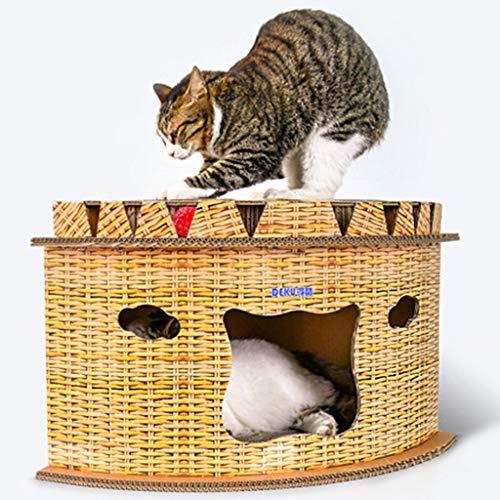Interesante para Mascotas Gato Juguetes a Bordo Rascar Gato Columpio Rascar blocs de Papel Corrugado con Campanas de Salto de Plataforma, Nido de Cat Corner/Entrenamiento del Juguete/Salón