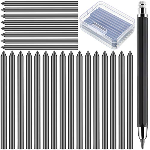24 Pieces 5.6 mm Mechanical Pencil Refills and 1 Piece 5.6 mm Lead Holder Mechanical Pencil, Drawing Pencil Refills for Art Painter Artist Sketch Drawing Drafting with a Storage Box (Black)