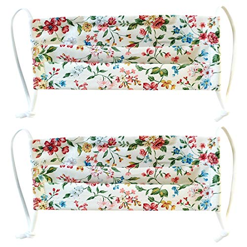 2 Pack 100% Cotton Korean Reusable Washable Adjustable Metal Strip Women Face Mouth Mask Double Layer Anti-Dust Fashion Outdoor Cloth Cover (Red Flower)