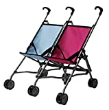 Mommy & Me Twin Doll Stroller Foldable Umbrella Double Doll Stroller for 1 Boy Doll and 1 Girl Doll, with Swiveling Wheels, Pink and Blue