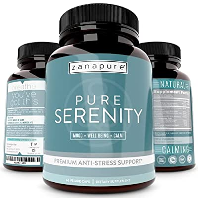 Pure Serenity Anxiety Relief & Stress Support Supplement -Premium Pharmaceutical Grade All Natural Calm, Relaxation & Mood Pills - 5 htp, Ashwagandha, L-Theanine, Rhodiola, Bacopa, 60 Vegan Capsules