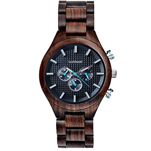 TruWoodPilot腕時計木製ブラックサンダルウッド総木製ベルト
