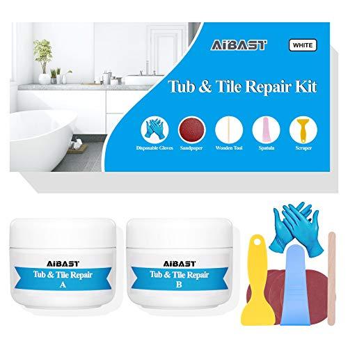 Tub, Tile and Shower Repair Kit Fiberglass Repair Kit,3.5 oz Porcelain Repair Kit,Bathtub Repair Kit White Toilet Ceramic Repair Kit for Cracked Bathtub Scratches - Shower Bases