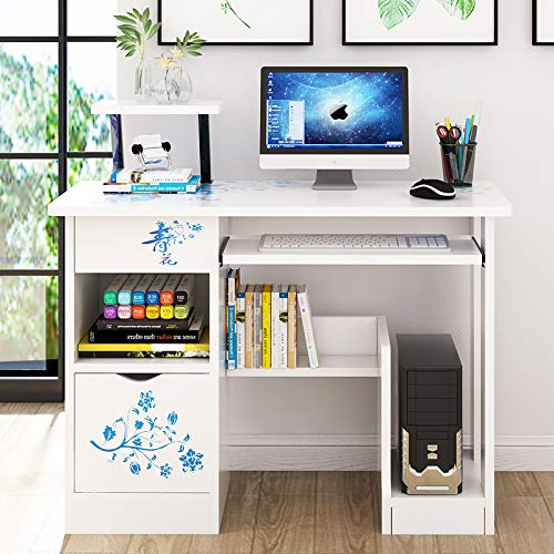 GORVELL Wood Computer Desk with Sliding Keyboard, Home Office Printer Storage Shelves Study Workstation,L39.37x W18.89 x H34.65 Inches