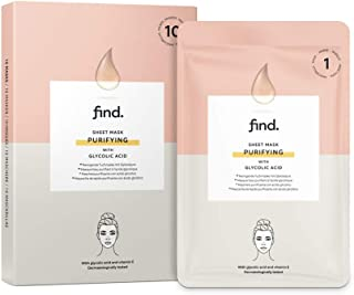 FIND - Mascarilla hidrogel sin goteo purificadora con ácido glicólico pack de 10 unidades