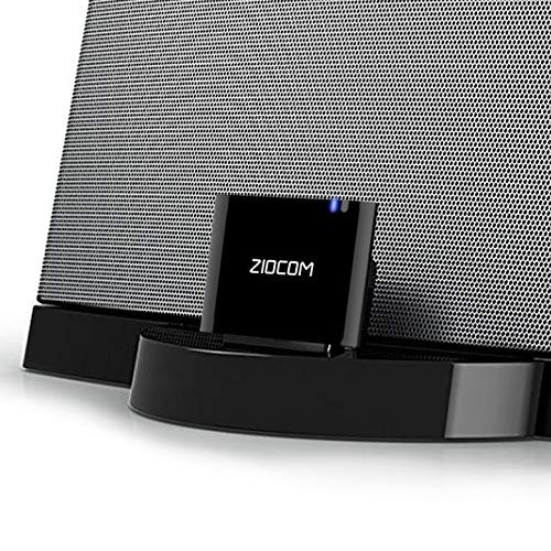 ZIOCOM Bluetooth 4.1 A2DP Receptor de música de Audio Adaptador Bluetooth Adaptador de Audio inalámbrico portátil para Bose Sounddock y 30Pin iPhone iPod Dock Altavoz Home Sistema de Sonido Negro