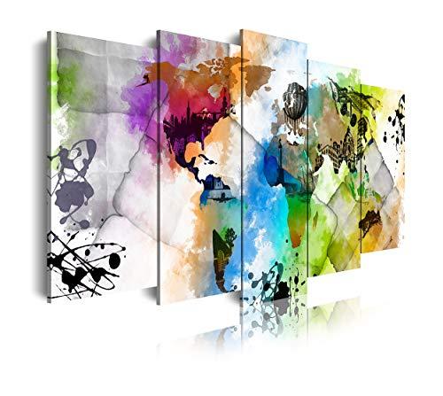 DekoArte 450 - Cuadros Modernos Impresión de Imagen Artística Digitalizada | Lienzo Decorativo Para Tu Salón o Dormitorio | Estilo Mapamundi Mapa del Mundo Ciudades Acuarelas | 5 Piezas 150 x 80 cm