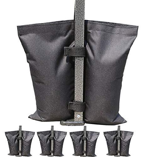 JLDUP - Bolsa de peso de doble costura de grado industrial, pesos, para piernas para toldo plegable, bolsa de arena, paquete de 4 unidades (M, negro)