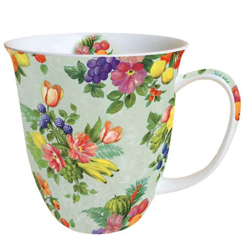Ambiente Porzellan Becher Bone China, Mug, Tasse, Fuer Tee Oder Kaffee ca. 0,4L Flowers and Fruits Green