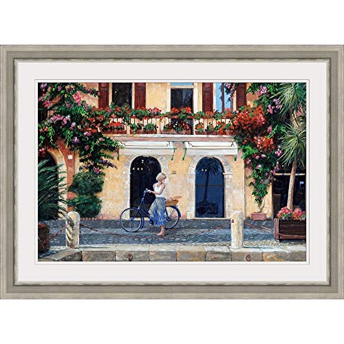 "GREATBIGCANVAS Limone, Lake Garda, Italy, 2003"" Silver Framed Wall Art Print, 36""x24""x1.25"""