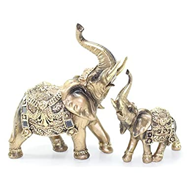 Set of 2 Feng Shui Brass Color Elegant Elephant Trunk Statue Wealth Lucky Figurine Home Decor Gift US Seller