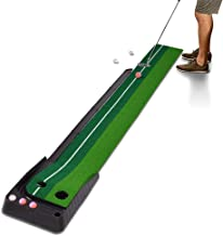Xcellent Global Golf Putting Mat Set with Ball Auto Return Hazard, Professional Portable Practice Mini Golf Trainer Putting Green for Indoor Outdoor - 2 Holes and 6 Golf Balls