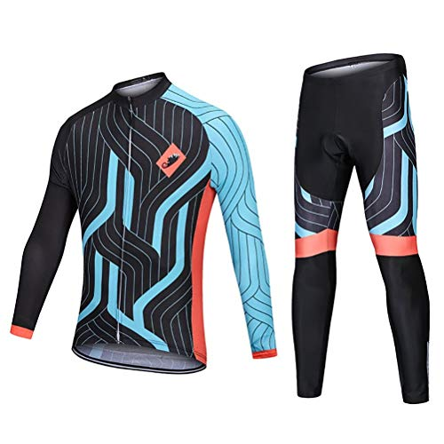 ETScooter Men's Cycling Jersey Suit Long Sleeve Mountain Bike Road Clothing Set, 3D Padded Hip Protection Bicycle Jersey (Size : XS)