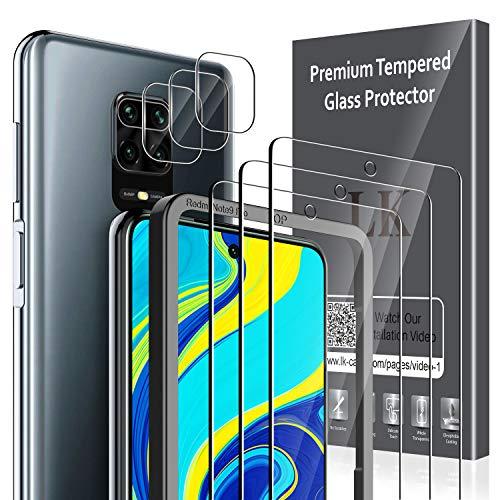 LK [3 Pack Protector de Pantalla para Xiaomi Redmi Note 9S Cristal Templado + [3 Pack] Xiaomi Redmi Note 9S Protector de Lente de cámara [Doble protección, Alta Transparencia, antiarañazos]