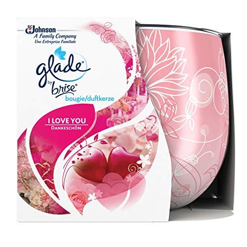 Glade by Brise - Candela profumata, fragranza bouquet romantico, fino a 30 ore di combuszione, I Love You, 120 g