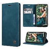 RuiPower Handyhülle für Samsung Galaxy A21s Hülle Premium Leder PU Flip Hülle Magnetisch Klapphülle Wallet Lederhülle Silikon Bumper Schutzhülle für Samsung Galaxy A21s Tasche - Blaugrün
