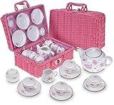 Jewelkeeper Porcelain Tea Set for Little Girls with Pink Picnic Basket, Floral Design, 13 Pieces