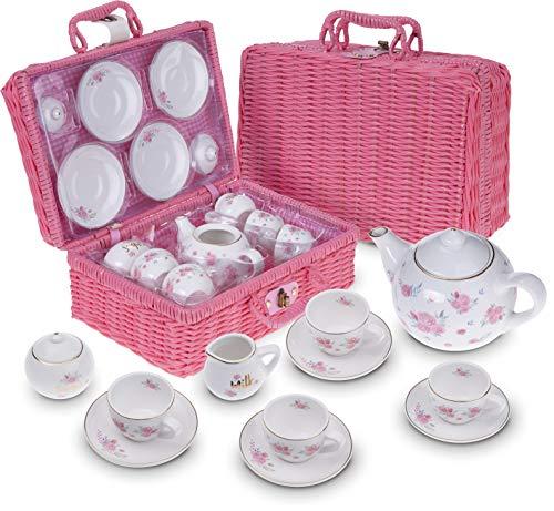Jewelkeeper - Porzellan Teeservice für kleine Mädchen mit rosa Picknick-Korb, Kindergeschirr Spielküche, 13-teilig - florales Design