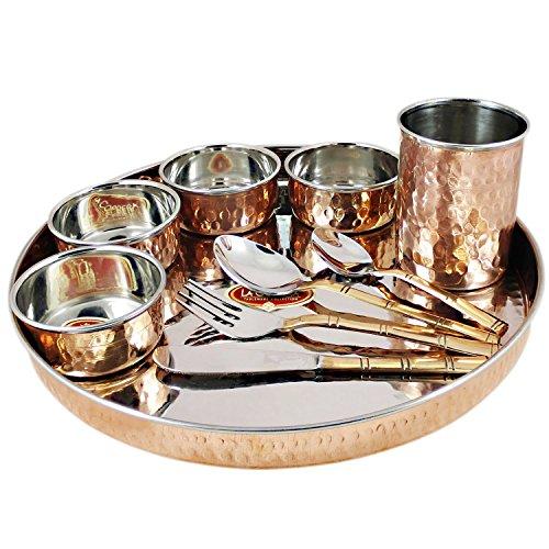 AsiaCraft Juego de vajilla de cobre de acero inoxidable grande Thali, vajilla de cobre