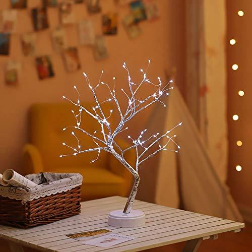 Luz del Arbol de Los Bonsais, SUNJULY LED USB 3D Lámpara de Mesa con Adaptador de Corriente Enchufable Para el Hogar Holiday Holiday Habitación Interior para Niños, Blanco frio
