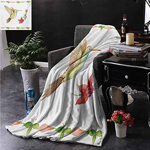ZSUO bontdeken Een kolibrie in Flower Garden Fantasy Staarten Vleugels Imaginative Artwork Zachte en comfortabele slaapbank