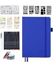 Feela システム手帳セット 合皮 A5サイズ ドット方眼 ペン付屬 ネイビー