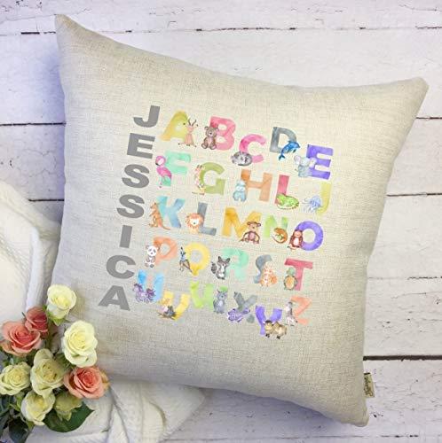 Sp567encer Alphabet Housse de coussin bébé avec nom de bébé Motif alphabet Cadeau de bébé