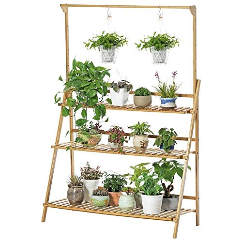 Hsj Flower Stand 3 Layer Plant Ladder Bamboe Plant Stand Bloempot Hanger Outdoor Garden Shelf Plant Display Stand Meubels (Color : A, Size : 50x40x96cm)