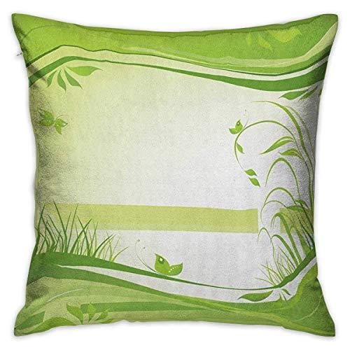 Taie d'oreiller carrée verte Protecteur Fresh Spring Nature Inspiration Cadre ondulé abstrait Papillons d'herbe Vert pomme Fougère verte Housses de coussin Taies d'oreiller pour canapé Chambre voiture
