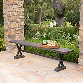 Christopher Knight Home 301179 Catelyn Outdoor Concrete and Steel Dining Bench (Brown)