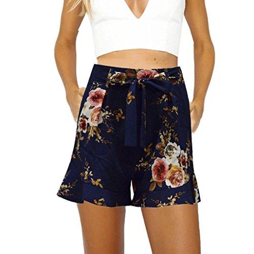 Shorts Damen Sommer Luckycat Kurze Sommerhosen Für Damen Volant Breites Bein Shorts Hose Sommerhosen Pants Hosen (Schwarz, X-Large)