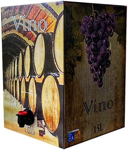 Vino Tinto joven - Formato Bag in Box de 15 Litros - Vino Tinto de Mesa - Vino Tinto Cosechero - Disfrute las ventajas de tener un buen vino que acompaña a todo tipo de comidas y tapas