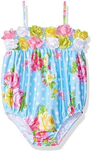 Kate Mack Girls' Baby Garden Roses Bubble Swimsuit, Blue, 18M