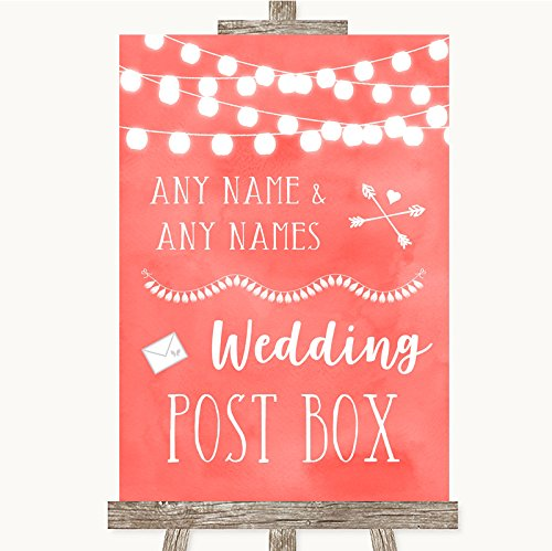 Wedding Sign Poster Print Coral Watercolor Lights Card Post Box kan volledig worden aangepast elke tekst of kleur - Perfect Venue Decoratie (A5) Small