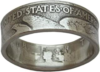 JOOLIXUACT Walking Liberty Coin Ring Handcraft Rings Vintage Date Inside Ring Chritmas Gift Birthday Gift (US Size 13)