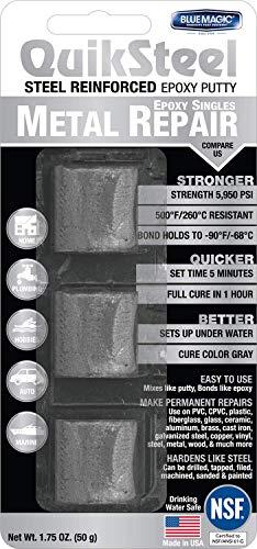 Blue Magic 16001 QuikSteel Steel Reinforced Epoxy Putty, Single Use - 1 oz.
