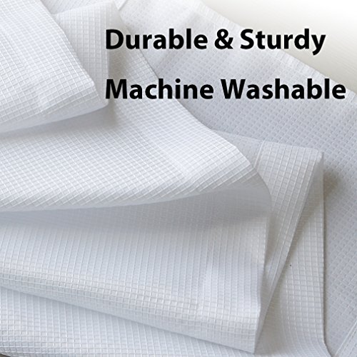 """Valea Home Water Repellent Tailored Tier Pair Curtains, Waffle Weave Textured Short Curtains for Bathroom, 72"""" x 45"""", White, Set of 2"""