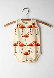 Baby Onesie - Yellow - Flamingo Sleeveless Onesie - Super Soft 100% Organic Cotton (3-6)