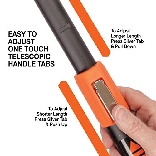 Tiger Jaw T2 Ratcheting Telescopic Handle Lopper Hybrid Blade Jaw Design Telescopic Lopper, One Touch Press Telescopic Handles, Cuts Up to 2 Inches in Diameter, Replaceable Blades