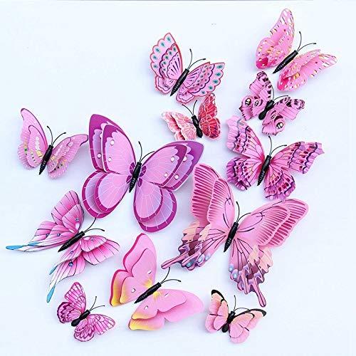 Raum-Aufkleber, Multicolor Double Layer Wings 3D Schmetterlings-Wand-Aufkleber Magnet PVC Schmetterlings-Partei Kind-Schlafzimmer-Kühlschrank-Dekor Magnetische (Color : Pink)
