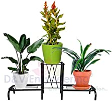 D&V ENGINEERING - Creative in innovation Metal Indoor/Outdoor 3 Pot Stand/Plant Stand for Home/Garden Decor,...