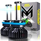 Mega Racer 4 Sided H11/H8/H9 Motorcycle Headlight LED Bulb - 6000K Super Bright White 10,000 Lumens COB IP68 Waterproof, Pack of 2