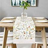 Bateruni Runner rettangolare con fiori, lavabile, per la tavola, antiscivolo, decorazione da tavolo, per sala da pranzo, feste, vacanze, 35 x 180 cm