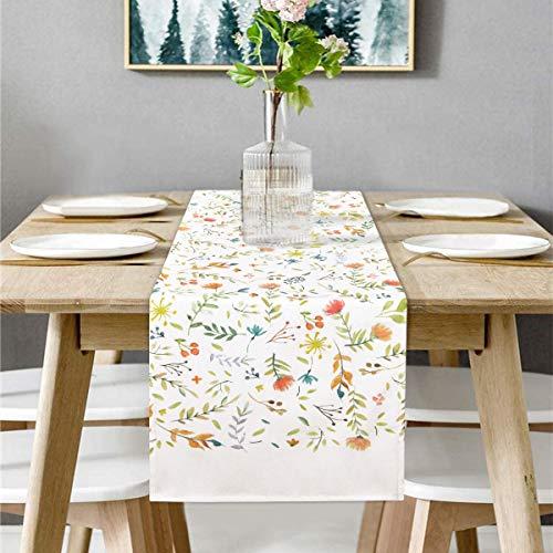 Bateruni Blumen Rechteckige Tischläufer, Waschbar Pflanzen Tischwäsche Matte, rutschfest Tischdekoration Tischband für Esszimmer Party Urlaub 35 * 180cm