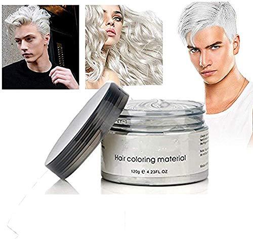 Weiße Frisur Creme Instant Haarwachs Haar Pomaden Lang anhaltende natürliche weiße Matte Frisur Wachs 4,23 Unzen für Männer und Frauen für Party, Cosplay, Nachtclub, Masquerade,Halloween