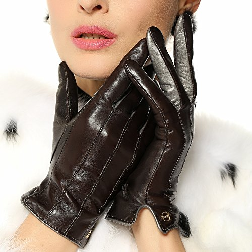 ELMA Winter Super Warm Nappa Leather Gloves Cashmere Lining Gold Plated Logo (M, Brown)
