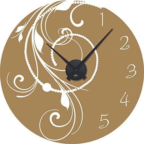 GRAZDesign wandklok grote sticker retro parelsnoer - wandtattoo met uurwerk vintage stijl / 800508 Uhrwerk schwarz 081, lichtbruin