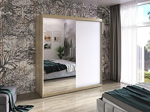 BASTER - Armadio con specchio, finitura opaca, larghezza 200 cm, colore: quercia Sonoma
