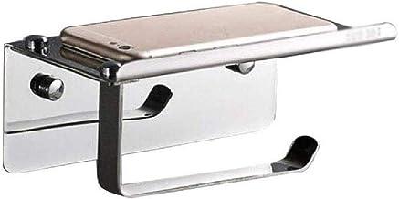 XYZMDJ Metalen toiletpapierhouder-wand-boren toiletpapierhouder tissuehouders papieropslag met opbergplank voor mobiele te...