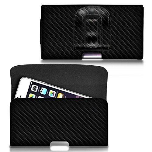 N4U Online® - Horizontal Kohlefaser Gürtel Tasche für Umi Iron Pro